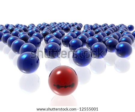 blue and red spheres on the white background - stock photo