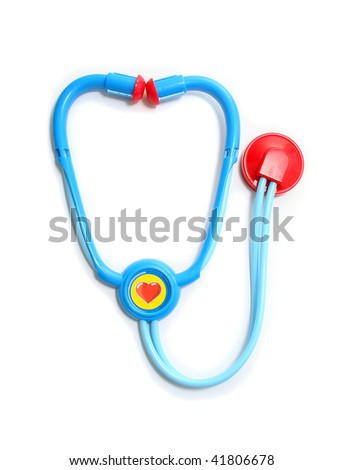 Blue and Red Toy Stethoscope on White Background - stock photo