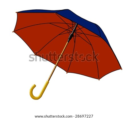 blue and red umbrella - stock photo