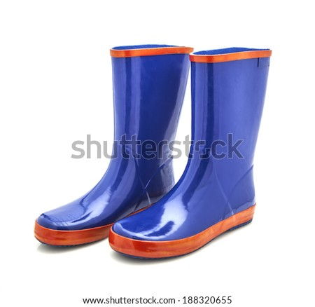 Blue and Red Wellington Boots (Wellies) on a white Background - stock photo