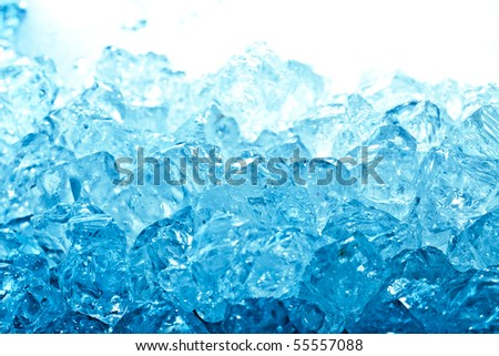 Blue and shiny ice cubes - stock photo