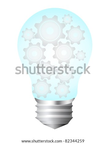 blue and silver bulb electric with gray gears isolated over white background - stock photo