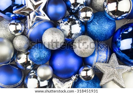 Blue and silver Christmas balls for a christmas background - stock photo