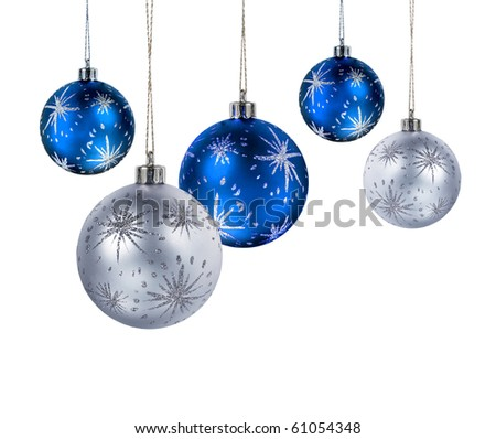 Blue and silver Christmas balls hanging isolated on white background - stock photo