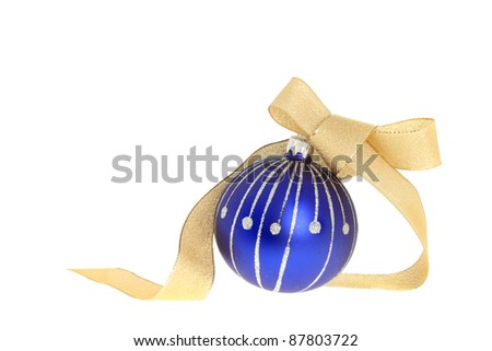 Blue and silver Christmas bauble and gold ribbon isolated against white
