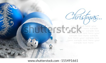 Blue and silver christmas decoration - stock photo