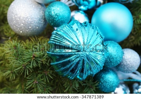 Blue and silver glittery Christmas holiday decorative round ornaments