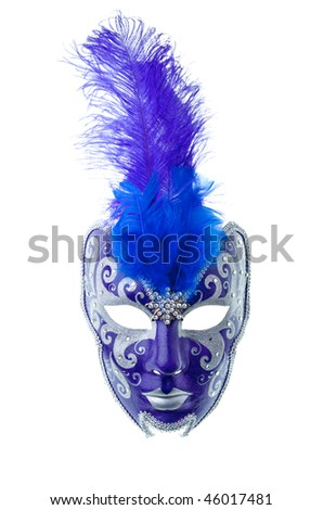 blue and silver mask isolated on a white background