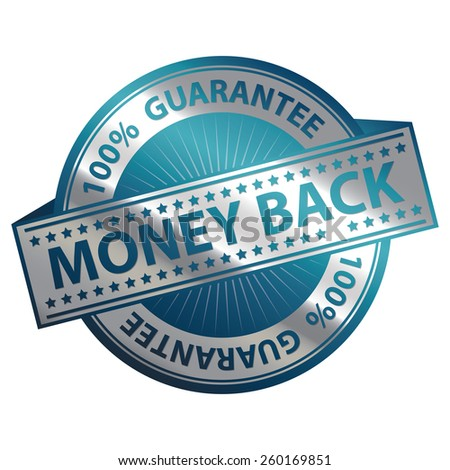 Blue and Silver Metallic 100% Guarantee Money Back Badge, Icon, Sticker, Banner, Tag, Sign or Label Isolated on White Background - stock photo
