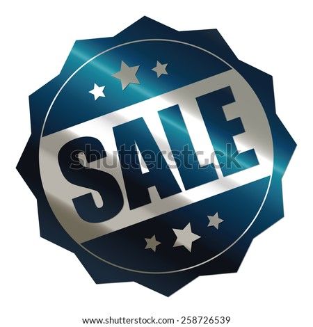 blue and silver metallic sale sticker, badge, icon, stamp, label, banner, sign isolated on white  - stock photo
