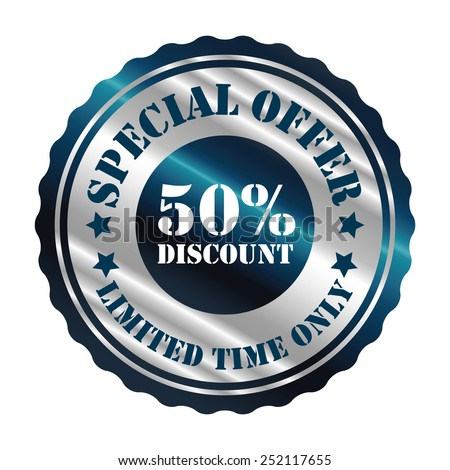 blue and silver metallic special offer 50% discount limited time only sticker, sign, stamp, icon, label isolated on white - stock photo