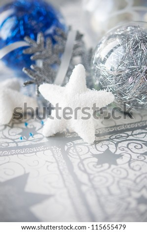 Blue and silver xmas decoration on holiday background - stock photo