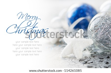 Blue and silver xmas decoration with copy space. Merry christmas. - stock photo