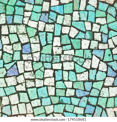 Blue and turquoise mosaic tiles as a background - stock photo