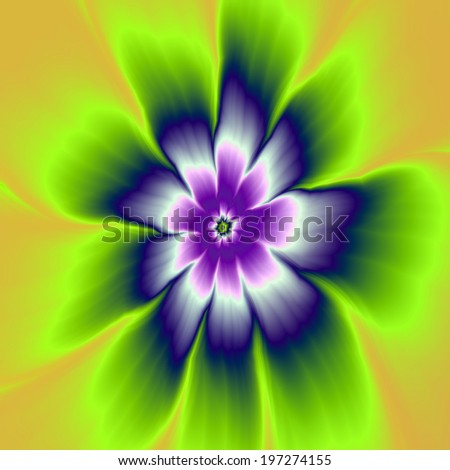 Blue and Violet Daisy Flower / A digital abstract fractal image with a daisy flower design in blue, violet, green and yellow. - stock photo