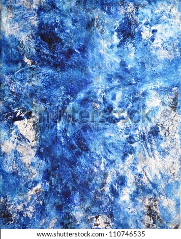 Blue and White Abstract Art Painting - stock photo