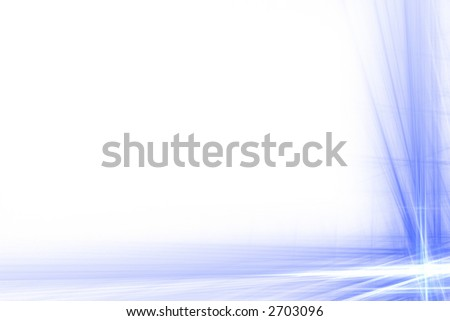 Blue and white abstract flash frame over white with copyspace - stock photo
