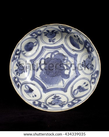 Blue and White Antique Shipwreck Chinese Plate