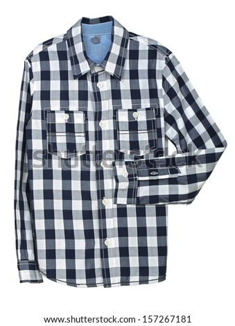 blue and white checked shirt on white