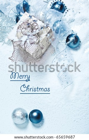 Blue and white Christmas card - stock photo