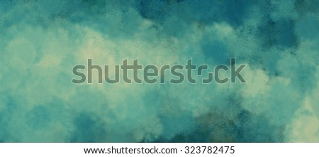 blue and white cloudy background design, yellowed vintage blue sky and cloud banner illustration - stock photo