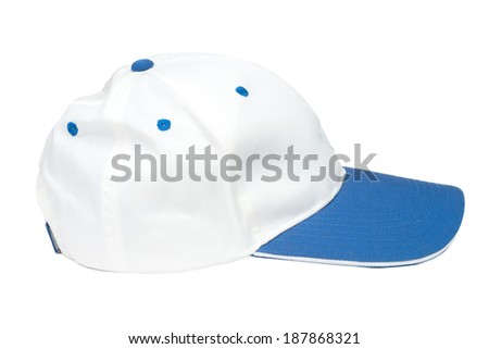 blue and white color  baseball caps isolated on white background