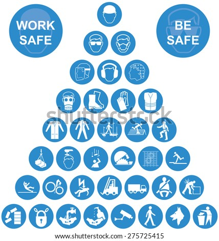 Blue and white construction manufacturing and engineering health and safety related pyramid icon collection isolated on white background with work safe message - stock photo