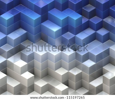 blue and white cubes background - stock photo