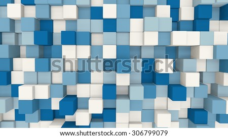 blue and white 3D cubes. computer generated abstract geometric background  - stock photo