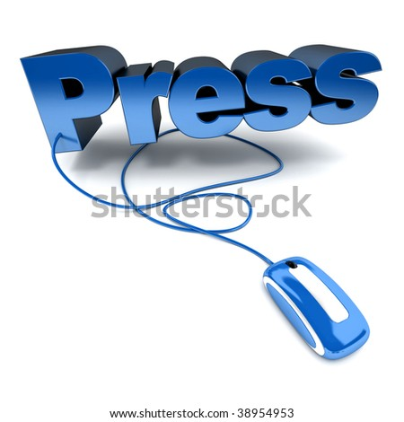 Blue and white 3D illustration of the word press connected to a computer mouse