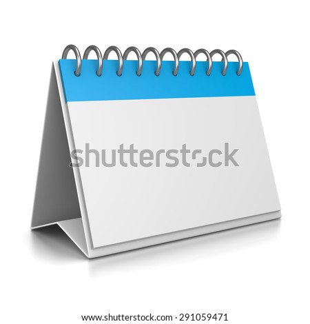 Blue and White Desk Calendar Empty 3D Template on White Background Illustration - stock photo