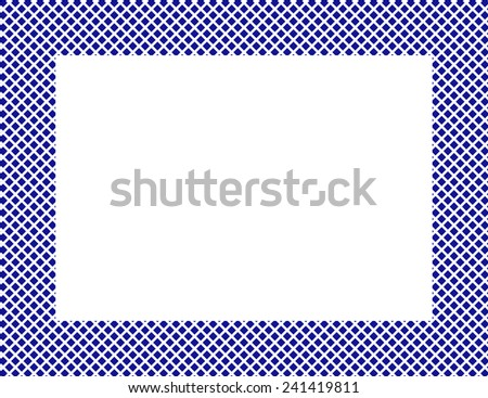 Blue and White Diamonds Frame Background with center isolated for copy-space, Blue and White Hearts Frame - stock photo