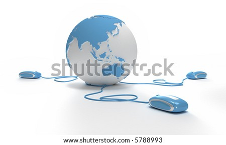 Blue and white Earth Globe oriented to Asia connected with three computer mouses. - stock photo