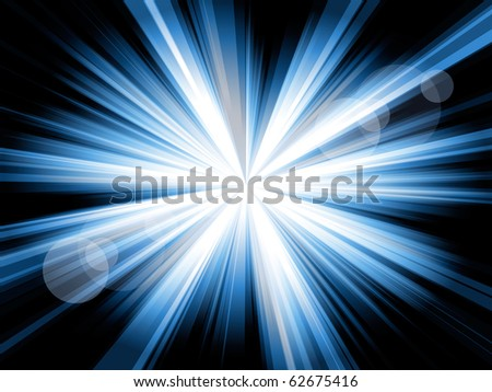Blue and white lines shining from the center, with some flares, against a black background. - stock photo