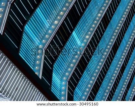 blue and white neon marquee lights - stock photo