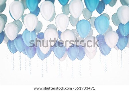 Blue and white party balloons on white background. 3d render