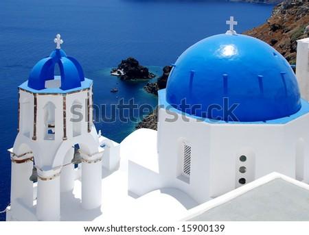 blue and white, Santorini - stock photo