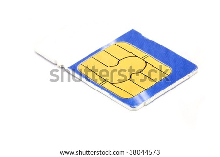 Blue and white sim card isolated - stock photo