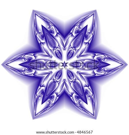 blue and white snowflake on white background - stock photo