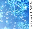 blue and white snowflakes over azure background - stock photo