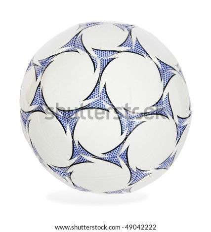 blue and white soccer ball on the white background. (isolated) - stock photo