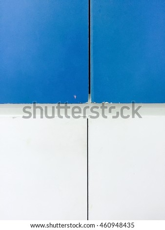 Blue and white square background.