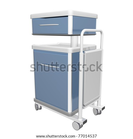 Blue and white stainless metal medical supply cabinet placed on a trolley, 3d illustration, isolated against a white background - stock photo