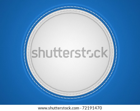 Blue and white stitched circle shape on leather background. Large resolution - stock photo