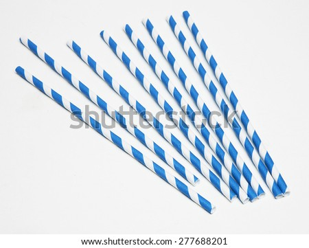 blue and white straws - stock photo
