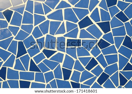 Blue and White Texture Mosaic on a Wall - stock photo