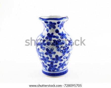 blue and white vase ceramic isolated on white background