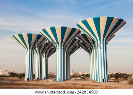 Blue and white water towers in Kuwait, Middle East - stock photo