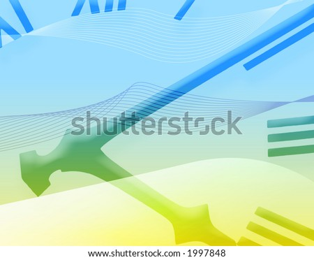 Blue and yellow abstract applied to clock face - stock photo