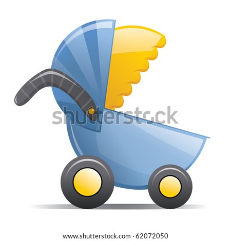 Blue and Yellow Baby Stroller - stock photo